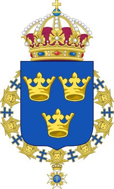 Lesser coat of arms of Sweden - Maison Bernadotte — Wikipédia Kingdom Of Sweden, Golden Crown, Swedish Royals, Family Crest, Crests, Coat Of Arms, Disney Characters, Fictional Characters, Painting