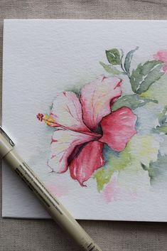 Rosa und Magenta Hibiscus Aquarell Blumen! Sie können nur mehrere Karten für einen Druck (nicht für ein Original) bestellen. Dies ist ein handgemaltes Aquarell Grußkarte auf 140 Pfund. säurefreiem, Strathmore Aquarellpapier. Alle Karten sind entworfen und von mir gemalt. Dimension der