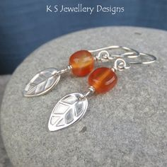 Carnelian Sterling Silver Leaf Earrings - Autumn Leaves | Hand stamped leaves below gorgeous autumn coloured carnelian nugget beads  For more designs, please see: www.ksjewellerydesigns.co.uk