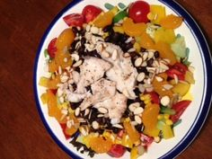 Salad with tilapia, black beans, & corn