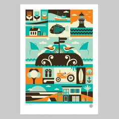 Far North Print by Greg Straight Greg Straight is recognisable for it's strong graphic edge and use of bright hues.