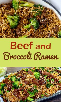 One Skillet Beef and Broccoli Ramen. Everything you love about beef and broccoli but with ramen noodles! One Skillet Beef and Broccoli Ramen. Everything you love about beef and broccoli but with ramen noodles! Slow Cooker Huhn, Slow Cooker Chicken, Beef Ramen Noodle Recipes, Ramen Noodles Recipe, Top Ramen Recipes, Chinese Food Recipes, Healthy Ramen Noodles, Chinese Desserts, Beef And Noodles