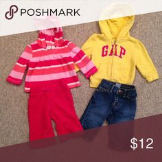 Name brand outfits Children's place fleece outfit and jeans andBaby GAP sweatshirt, can be worn as pictured or mixed and matched. Matching Sets
