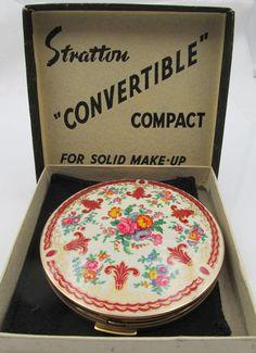 Vintage England Stratton Enamel Compact Original Box
