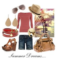 Summer Dreams by cmsample on Polyvore featuring polyvore мода style Dorothy Perkins American Eagle Outfitters Carvela Miu Miu Irene Neuwirth Michael Kors STELLA McCARTNEY San Diego Hat Co. Ray-Ban fashion clothing
