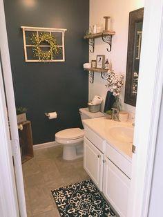 Farmhouse bathroom decor - simple farmhouse decor for a bathroom FarmhouseBathroomDecor FarmhouseDecor BathroomDecor RusticBathroomIdeas BathroomRemodel Guest Bathrooms, Rustic Bathrooms, Downstairs Bathroom, Bathroom Renos, Small Bathroom, Bathroom Ideas, Guest Bathroom Colors, Accent Wall In Bathroom, Bathroom Cabinets