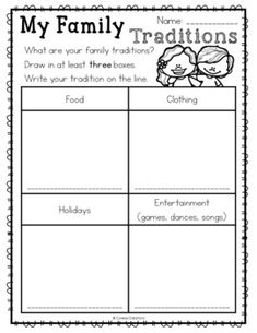 FREE family traditions printables to accompany your Social Studies lesson. These are open-ended and are perfect for the primary classroom! Informations About Family Traditions Pin You can easily use m Social Studies Worksheets, Free Kindergarten Worksheets, Social Studies Activities, Kindergarten Lesson Plans, Teaching Social Studies, Kindergarten Social Studies Lessons, Diversity Activities, Multicultural Activities, Culture Activities