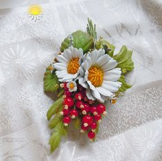 Currants jewelry Red currant brooch Leather от SummerInYourHome