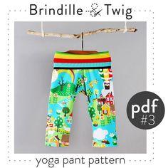 Childrens yoga pants pdf pattern and tutorial by brindilleandtwig, printed