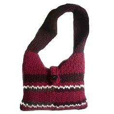 A great size tote bag for any age! So easy in Stockinette Stitch. Involves decreases and change of color. (Lion Brand Yarn)
