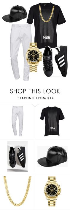 """""""Untitled #2844"""" by styledbycharlieb ❤ liked on Polyvore featuring Dsquared2, Hood by Air, adidas, Boohoo and Rolex"""