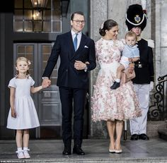 Weekend of partying! The birthday girl (centre) looked radiant in Stockholm yesterday in a white fit-and-flare dress , which was covered in butterflies embroidered and appliqued in shades of pink and gold