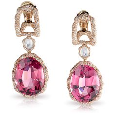 FABERGÉ - Katharina Earrings - Les Fabuleuses Collection - 18 carat white and rose gold, white & pink round diamonds, moonstones, rubies, & oval pink tourmalines