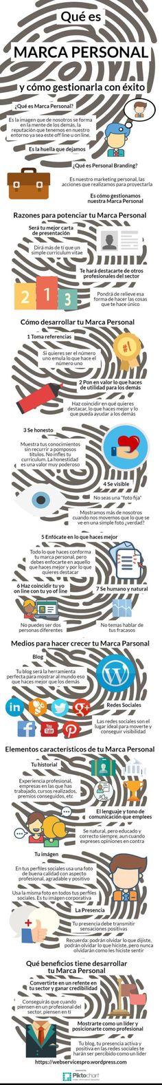 Qué es la marca personal y como gestionarla con éxito. Infografía en español. #CommunityManager