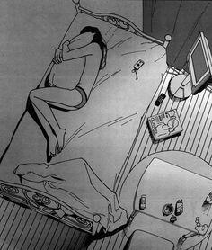 love lost death art girl depressed sad lonely anime white room pain sleep alone black draw bed manga dark phone cry grey - Site Today Sad Drawings, Dark Art Drawings, Art Drawings Sketches, Drawing Art, Dark Art Illustrations, Illustration Art, Landscape Illustration, Girls In Bed, Death Art