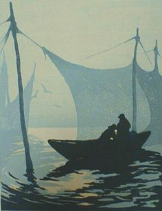Morning on the Weir by Tod Lindenmuth, c 1930, (color woodcut), no stated edition, 14.125 x 11 inches. A fine impression with full margins in excellent condition signed and titled in pencil by the artist. #marine #fishing #seascape #blue