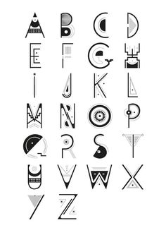 Alphabet Typo Caracter Precolombian by Gabrielle FERRY via Behance Typography Alphabet, Typography Fonts, Creative Lettering, Lettering Design, Cool Lettering, Letras Cool, Schrift Design, Typographie Logo, Typographie Inspiration