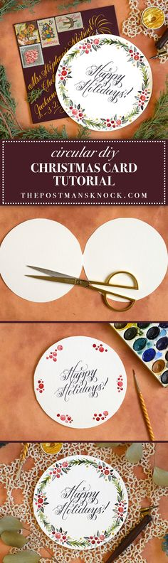 DIY card made with watercolors -- you can trace over the calligraphy in the holiday worksheet mentioned in the post.