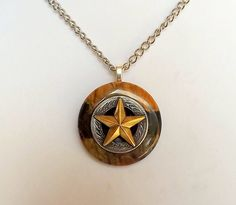 TEXAS LONE STAR Necklace, Black Brown Jasper Stone Pendant, Western Jewelry, Texas Necklace, Stone Necklace, Men Necklace, Western Necklace by argenesgems on Etsy
