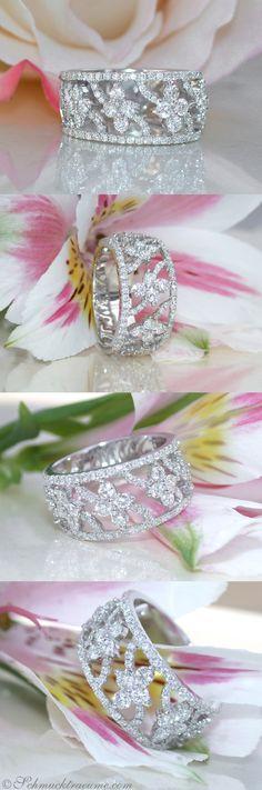"Picture Perfect Diamond ""Blossom"" Band   1.19 ct. G SI   Whitegold 18k - schmucktraeume.com Like: https://www.facebook.com/Noble-Juwelen-150871984924926/"