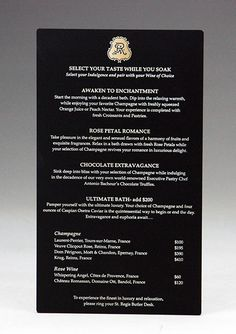 Black Acrylic Menus for St. UV color printed in gold ink. Many colors available! Acrylic Invitations, Freshly Squeezed Orange Juice, Price Quote, Table Signs, Fort Collins, Menu Cards, Gold Ink, Acrylic Colors, Rose Petals