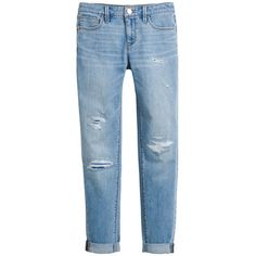 White House Black Market Distressed Girlfriend Jeans ($60) ❤ liked on Polyvore featuring jeans, pants, bottoms, blue jeans, petite boyfriend jeans, ripped jeans, destroyed boyfriend jeans and petite jeans