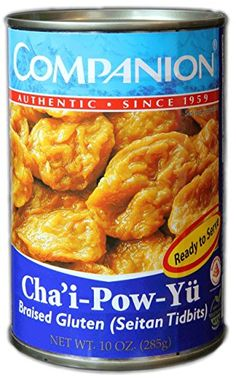 Companion - Braised Gluten Seitan Tidbits, 10 oz. Can (Pack of 6) for making Vegan Chinese Recipes