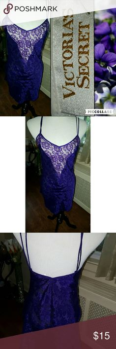 VS Vibrant violet nightie P. Final As violent as Elizabeth Taylor's eyes. Stunning little nightie in great condition. 14 inches ? 2 across chest.26 inches kong without straps. Victoria's Secret Intimates & Sleepwear Pajamas