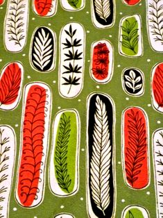 Para Esther fabric with beautiful leaf pattern Motifs Textiles, Textile Patterns, Textile Prints, Print Patterns, Design Patterns, Design Textile, Fabric Design, Vintage Fabrics, Vintage Patterns