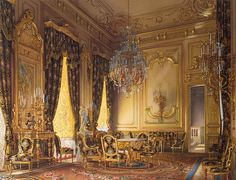 Mansion of Baron A.L. Stieglitz. The Golden Drawing Room, watercolor, St. Petersburg Russia