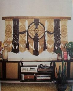 Now this is a serious macramé piece! Above the record console too