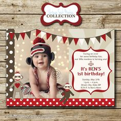 Sock Monkey Birthday Party Photo Invitation, invite, thank you card, printable, digital. $15.00, via Etsy.