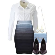 A fashion featuring ESPRIT blouses, Hervé Léger skirts and Talbot Runhof pumps. Browse and shop related looks.