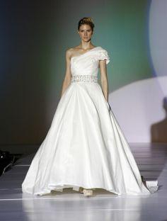 wedding dress. ball gown. one shoulder. beaded waist