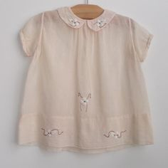 antique baby clothes | ... circa 1940 gauze smock dress with Peter Pan collar. vintage baby dress