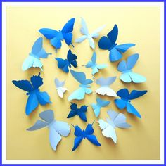 3D Wall Butterflies - 15 Azure, Baby, Royal Blue Butterfly Silhouettes, Nursery, Home Decor. $25.00, via Etsy.