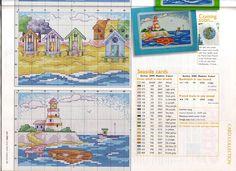 Cabana and Lighthouse scenes Cross Stitch Sea, Cross Stitch Needles, Cross Stitch Charts, Cross Stitch Patterns, Christmas Embroidery Patterns, Embroidery Stitches, Ocean Themes, Beach Themes, Cross Stitch Landscape