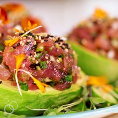 Spicy Tuna Poke Stuffed Avocados Spicy tuna poke stuffed avocados is a delicious and very simple recipe that was inspired by Heather Sushi Recipes, Avocado Recipes, Salmon Recipes, Seafood Recipes, Asian Recipes, Cooking Recipes, Healthy Recipes, Fresh Tuna Recipes, Fresh Fish Recipes