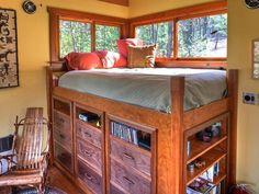 The loft bed offers plenty of storage.