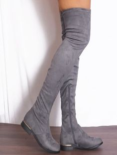 Ladies Womens Black Grey Khaki Faux Suede Thigh High Over Knee Flat Casual Boots Thigh High Sock Boots, Knee Boots, Winter Fashion Boots, Fashion Shoes, Girls Heels, Ladies Shoes, Slouch Socks, Open Toe Boots, Long Sleeve Sweater Dress