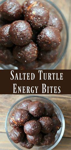 Healthy Salted Turtle Energy Bite recipe. Make-ahead energy ball snack recipe.