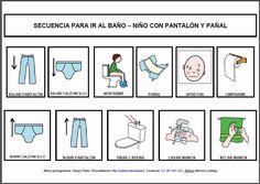 MATERIALES - Secuencias para ir al baño (niño con pantalón y pañal).  Conjunto de seis secuencias para trabajar o anticipar las distintas rutinas para ir al baño.  http://arasaac.org/materiales.php?id_material=778