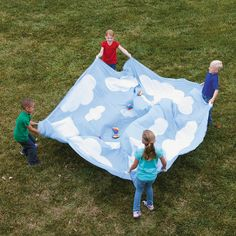 7 Pc. Hot Air Balloon Parachute Set - OrientalTrading.com expensive :( but, maybe for games?