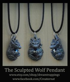 Sculpted Little Wolf & Lavender Glass Pendant by dreamtrappings
