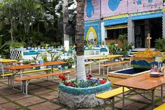 Nestled amongst the coco palms and glassy swells of Seminyak, Bali, lives the tropical oasis known as MOTEL MEXICOLA. Put your thinking shoes on and e Motel Mexicola, Bali Holidays, Tropical, Table Decorations, Drink, Street, Eat, Places, Travel