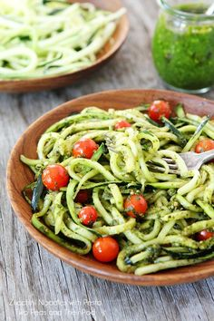 Zucchini noodles with pesto from  Two Peas and Their Pod