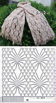 Crochet lace scarf with chartre pin Häkelmuster Openwork - crochet patterns stitchesCrochet Tutorial for Crochet, Knitting.I keep seeing inspiring crochet spiderweb stitch patterns! (series of scarf patterns)Beautiful crocheted scarf chart, and one Crochet Scarf Diagram, Crochet Stitches Patterns, Crochet Poncho, Crochet Chart, Love Crochet, Filet Crochet, Crochet Scarves, Crochet Motif, Crochet Designs