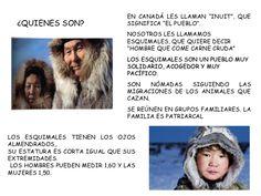 LOS ESQUIMALES O INUITS PARA ED. INFANTIL Polo Norte, Elementary Spanish, Preschool Activities, Kayaking, Animals, Canada, Google, Biomes, Northern Lights