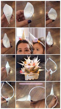 tutorial-tiara-unicornio-faca-voce-mesmo-tao-facil-que-nem-da-para-acreditar-passo-a-passo-completo Unicorn Birthday Parties, Girl Birthday, Felt Crafts, Diy And Crafts, Diy For Kids, Crafts For Kids, Unicorn Costume, Unicorn Headband, Unicorn Crafts