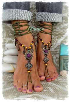 Woodland FAIRY BAREFOOT sandals Purple Olive Green by GPyoga
